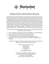 NANTUCKET-SINKS-STAINLESS-STEEL-WARRANTY.PDF