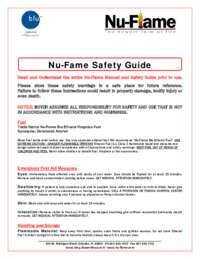 Nu-Flame Fireplace and Nu-Flame Fuel Safety Manual