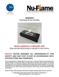 Incendio Tabletop Mounted Ethanol Fireplace Manual and Instructions