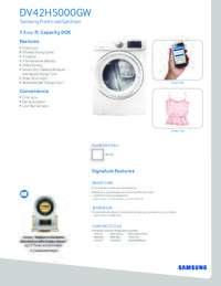 Gas Dryer Spec Sheet