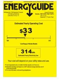 Energy Guide Label: Model RM1722PS - 1.7 CF Refrigerator - Black