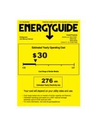 Energy Guide Label: Model RM3152W - 3.1 CF Counterhigh Refrigerator - White