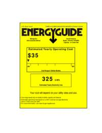 Energy Guide Label: Model FF447W - 4.4 Cu. Ft. Frost Free Refrigerator / Freezer