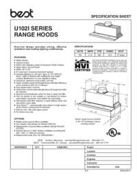 U102 Specification Sheet