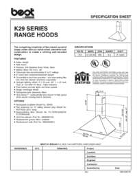 K29 Specification Sheet