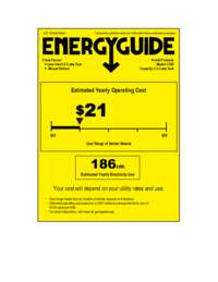 Energy Guide Label: Model CF65 - 2.1 Cu. Ft. Chest Freezer - White
