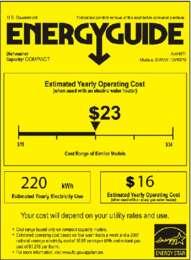 Energy Guide Label: Model DW6W - Portable Countertop Dishwasher
