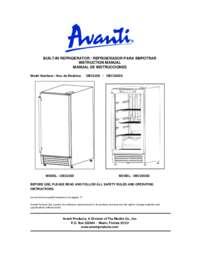 Instruction Manual: Model OBC33SSD - 3.2 CF Built-In Outdoor Refrigerator w/Glass Door