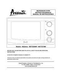 Instruction Manual: Model MO7220MW - 0.7 CF Mechanical Microwave - White