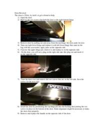Door Reversal Instructions: Model WCR5404DZD - Built-In or Free Standing Dual Zone Wine Cooler