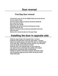 Door Reversal Instructions: Model RA3103SST - 3.1 CF Two Door Counterhigh Refrigerator - Black w/Stainless Steel Doors