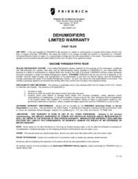 Dehumidifier Warranty