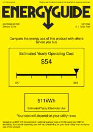 CP171W Energy Guide