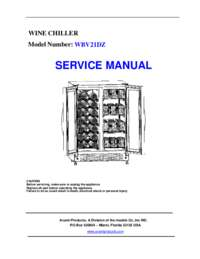 Parts & Accessories: Model WBV21DZ - Side-by-Side Dual Zone Wine/Beverage Cooler