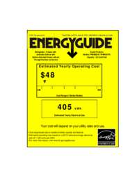 Energy Guide Label: Model FFBM920W - Bottom Mount Frost Free Freezer / Refrigerator