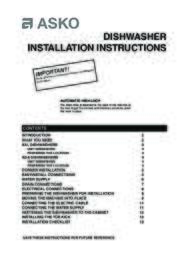 ASKO D5000 Series Installation Guide