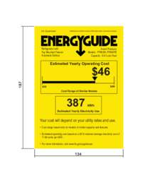 Energy Guide Label: Model FF993W - 10.1 Cu. Ft. Frost Free Refrigerator - White