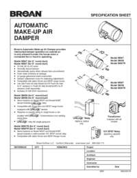 Make-Up Air Damper Specification Sheet 99044541B