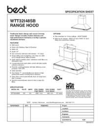 BEST WTT32I48SB Specification Sheet 99045057A