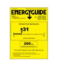 Energy Guide Label: Model RM1760W - 1.7 CF Refrigerator - White
