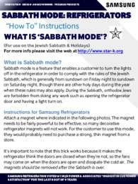 Sabbath Mode Refrigerators