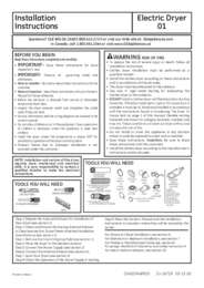 Electric Dryer Installation Instructions
