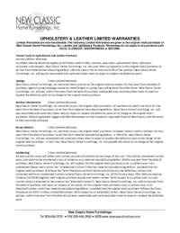 Upholstery Warranty