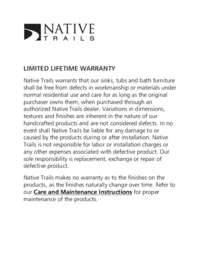 NT Limited Lifetime Warranty