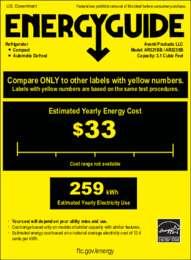Energy Guide Label: Model AR321BB - 3.2 Cu. Ft. COUNTERHIGH ALL REFRIGERATOR