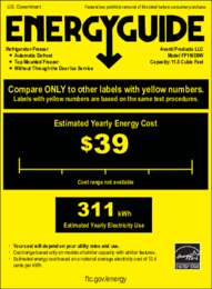 Energy Guide Label: Model FF116D0W - 11.5 Cu. Ft. Frost Free Refrigerator