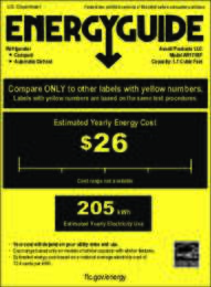Energy Guide Label: Model RM171BF - 1.7 CF Refrigerator - Black