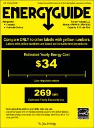Energy Guide Label: Model AR4456SS - 4.5 CF Counterhigh Refrigerator
