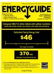 Energy Guide Label: Model FFBM102D0W - Bottom Mount Frost Free Freezer / Refrigerator