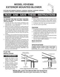 VDVE900 - 900 CFM Interior Power Ventilator - Installation Instructions (435 KB)