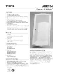 toto spec sheet abr784