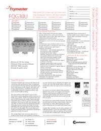 Frymaster FQG30U.SpecSheet