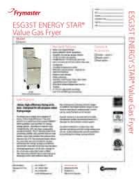 Frymaster ESG35T.SpecSheet