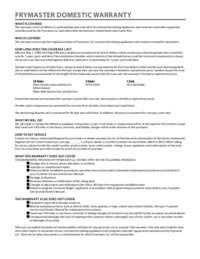 Frymaster LHD165.Warranty