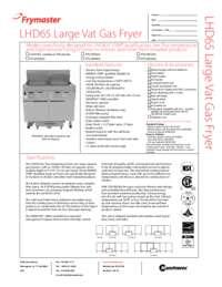 Frymaster LHD165.SpecSheet