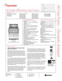 Frymaster HDX50G.SpecSheet