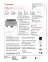 Frymaster FQE30U.SpecSheet