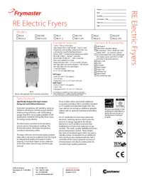 Frymaster RE14TC.SpecSheet