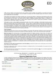 CMA Dishmachines AH.Warranty