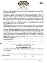 CMA Dishmachines CMA EST VL.Warranty