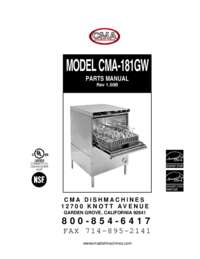 CMA 181GW Parts Manual Rev1 00B