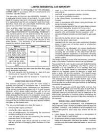 A. O. Smith Standard ResidentialGas Warranty Sheet