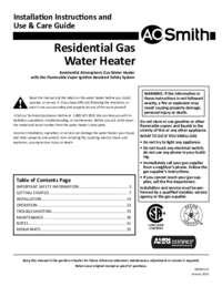 A. O. Smith Standard ResidentialGas Installation Manual