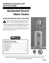 A. O. Smith Standard ResidentialElectric Installation Manual