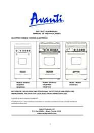 """Instruction Manual: Model ER24P3SG - 24"""" Electric Range"""