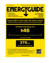 Energy Guide Label: Model FFBM102D2P - Bottom Mount Frost Free Freezer / Refrigerator